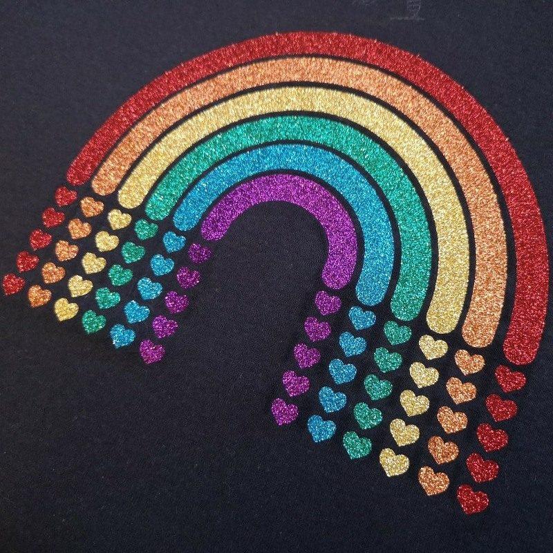 Glitter Heart Rainbow