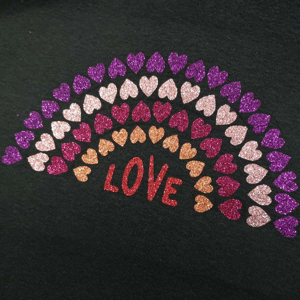 Glitter Love Heart Rainbow